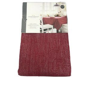 Cranberry Red Tablecloth With Metallic Silver Flec